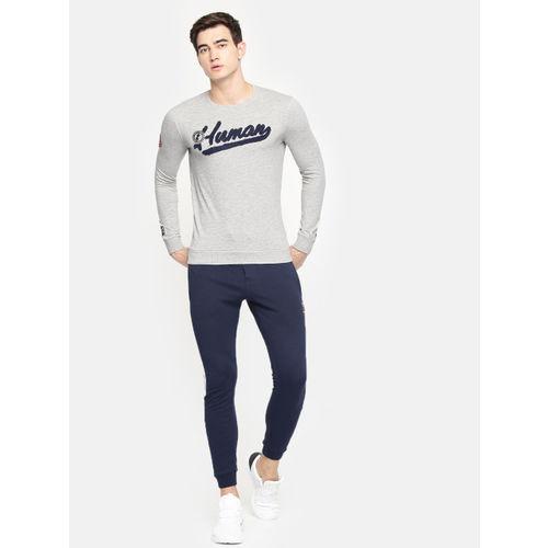 Being Human Men Grey Solid Applique Detail Sweatshirt