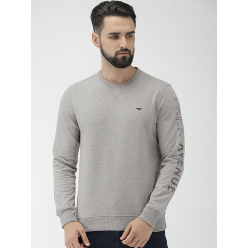 Park Avenue Men Grey Solid Slim Fit Pullover Sweatshirt