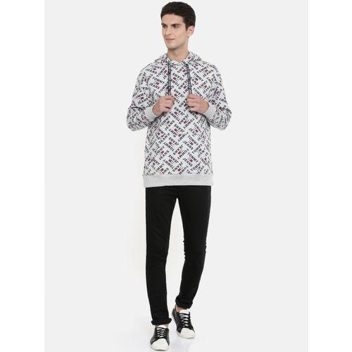 Tommy Hilfiger Men Grey Printed Hooded Sweatshirt