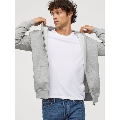 H&M Men Grey Solid Hooded Jacket Regular Fit