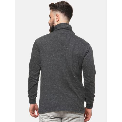 Campus Sutra Men Grey Solid Sweatshirt