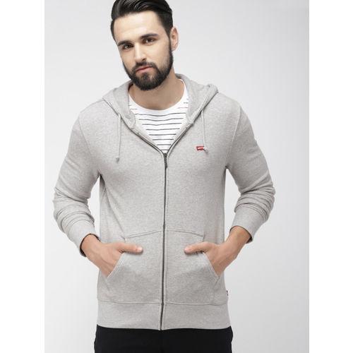 Levis Men Grey Solid Hooded Sweatshirt