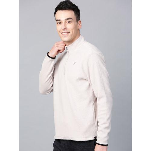 HRX by Hrithik Roshan Outdoor Men Grey Solid Fleece Sweatshirt