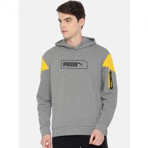 Puma Men Grey & Yellow Solid Hooded NU-TILITY Sweatshirt