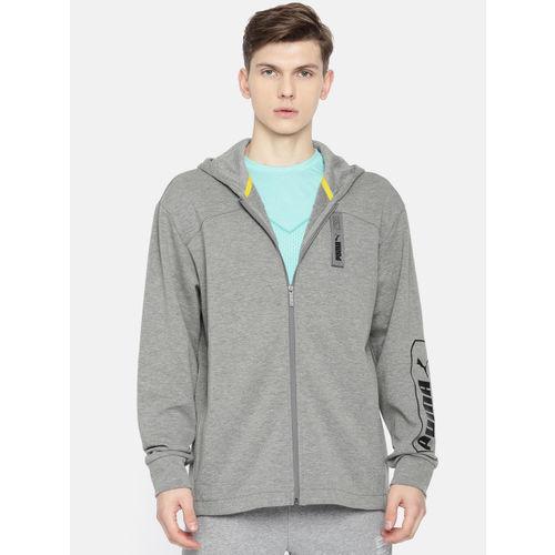 Puma Men Grey Solid NU-TILITY FZ Hooded Sweatshirt
