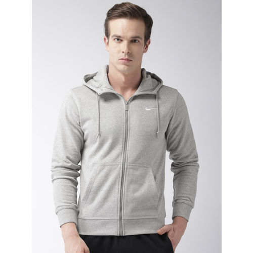 Nike Men Grey Solid AS CLASSIC FZ FT Hooded Sweatshirt