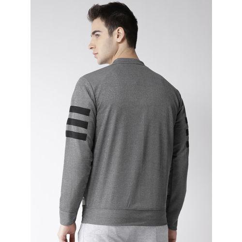 Hubberholme Men Grey Solid Sweatshirt