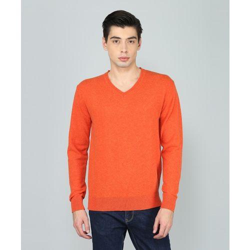 Indian Terrain Solid V-neck Casual Men Orange Sweater