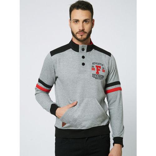 FiTZ Men Grey Colourblocked Sweatshirt