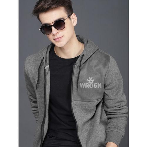 WROGN Men Grey Solid Hooded Sweatshirt