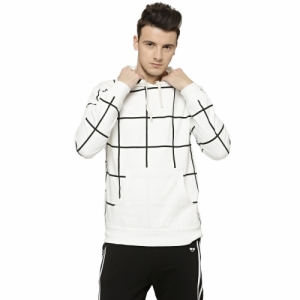 Campus Sutra Men's White Hooded Sweatshirts