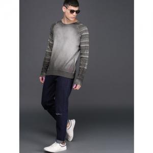 WROGN Men Grey Solid Sweatshirt