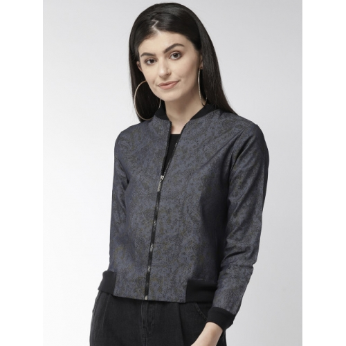 Style Quotient Blue & Black Printed Lightweight Bomber Jacket