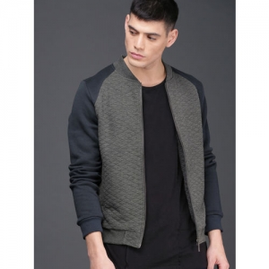 WROGN Men Grey Selfdesign Sweatshirt