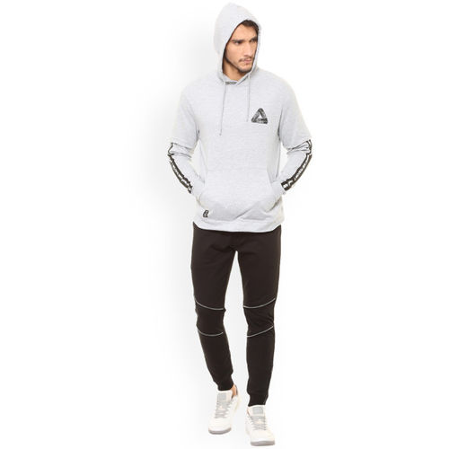 People Men Grey Printed Hooded Sweatshirt