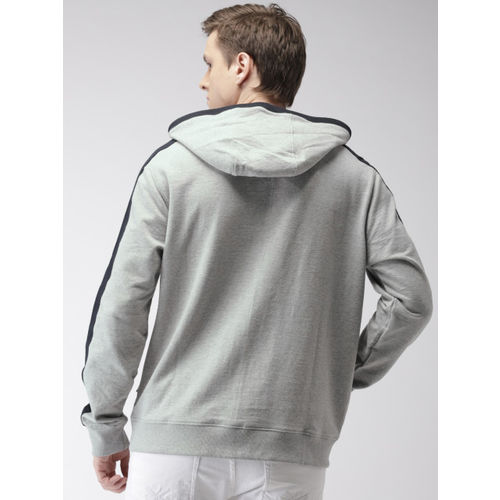 Nautica Men Grey Printed Hooded Sweatshirt