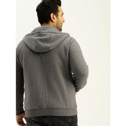 Sztori Men Grey Quilted Hooded Sweatshirt