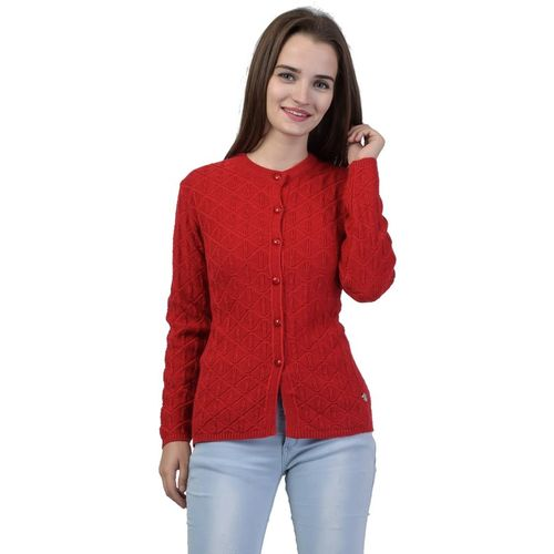 TAB91 Women Button Self Design Cardigan