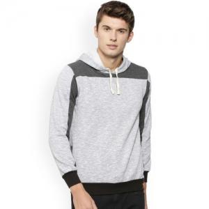 Campus Sutra Men Grey & Charcoal Colourblocked Hooded Sweatshirt
