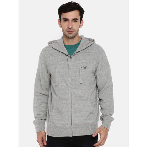 AMERICAN EAGLE OUTFITTERS Men Grey Solid Hooded Sweatshirt