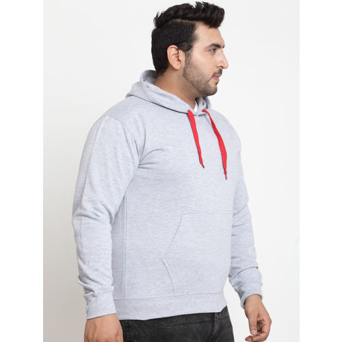SCOTT INTERNATIONAL Men Grey & Red Self Design Hooded Sweatshirt