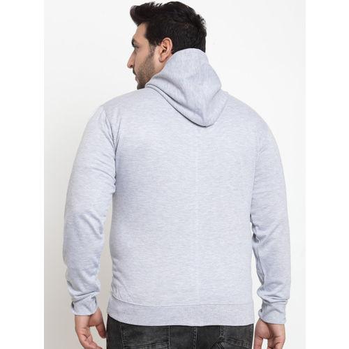 SCOTT INTERNATIONAL Men Grey & Red Self Design Hooded Sweatshirt