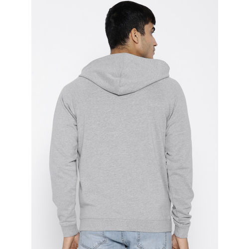 Van Heusen Sport Men Grey Solid Hooded Sweatshirt