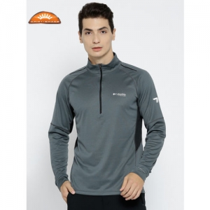 Columbia Men Grey Titan Trail Half Zip Solid Sweatshirt