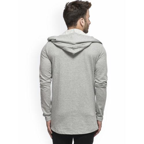 Tinted Men Grey Solid Hooded Sweatshirt