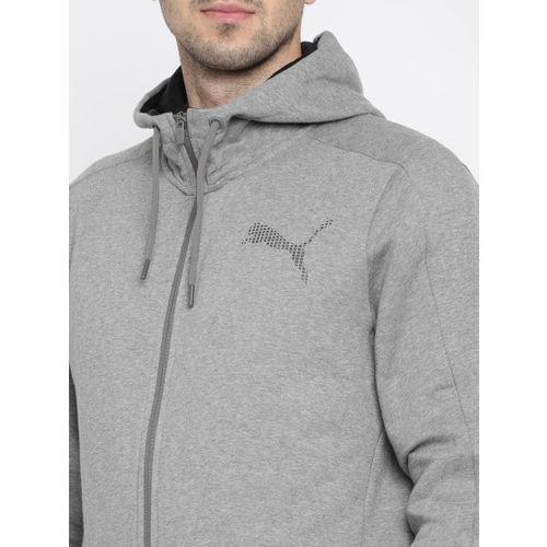 Puma Men Grey Solid P48 Core FZ Hooded Sweatshirt