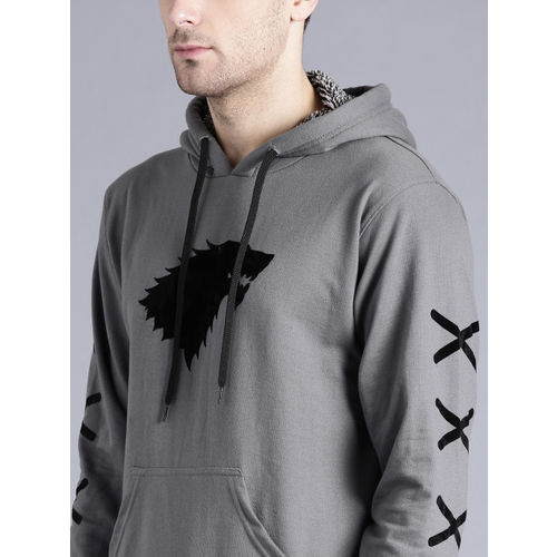 Game of Thrones by Kook N Keech Men Grey Printed Hooded Sweatshirt