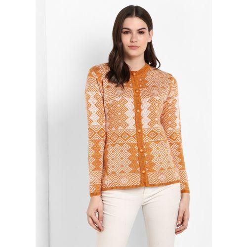 Modeve Women Button Self Design Cardigan