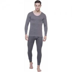Jockey Charcoal Melange Full Sleeve Men Top - Pyjama Set Thermal