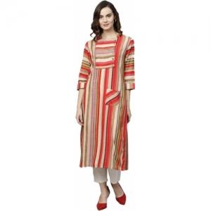 Shree Beige, Red Striped Straight Kurta
