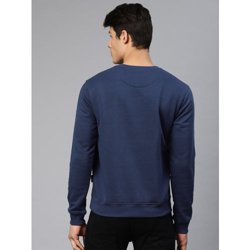 French Connection Men Navy Blue Printed Sweatshirt