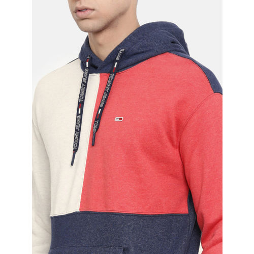 Tommy Hilfiger Men Blue & Coral Red Colourblocked Hooded Sweatshirt