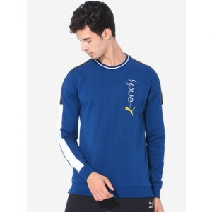 Puma Men Blue Solid VK Crew Gibraltar Sea Sweatshirt