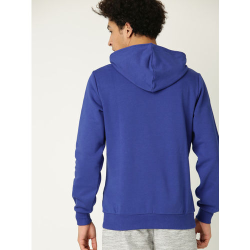 United Colors of Benetton Men Blue & White Printed Hooded Sweatshirt