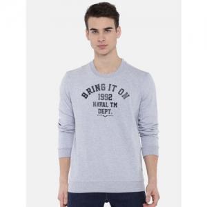 SPYKAR Men Blue Printed Sweatshirt