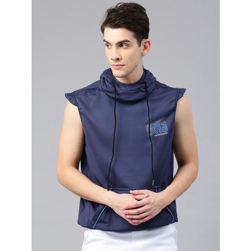 HRX by Hrithik Roshan Men Blue Solid Hooded Running Sweatshirt