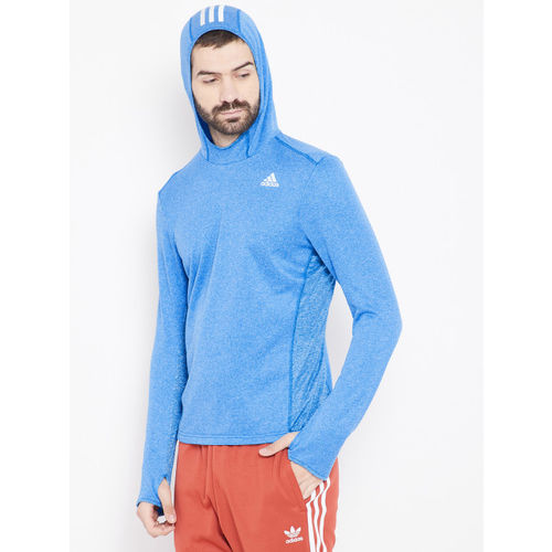 ADIDAS Men Blue Solid Response Astro Hooded Running Sweatshirt