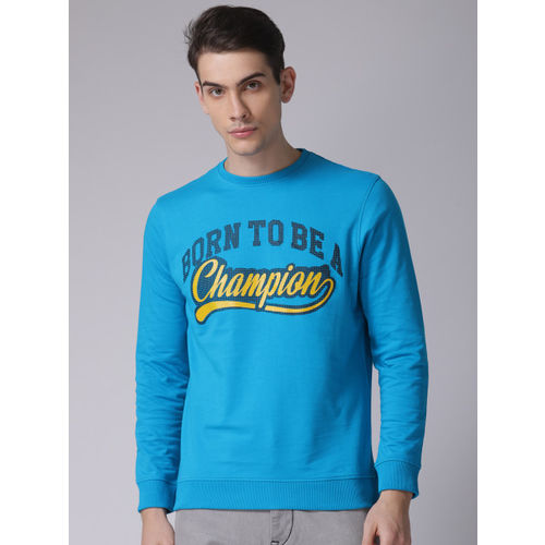 YWC Men Blue Printed Sweatshirt