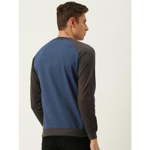 Peter England Men Blue & Charcoal Grey Solid Sweatshirt