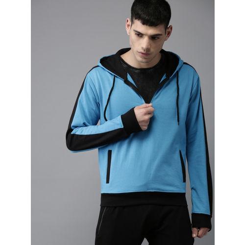 Moda Rapido Men Blue Solid Hooded Sweatshirt
