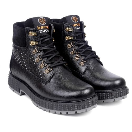 Bacca Bucci Men's Storm Surge Water Resistant Oil Full Grain Leather Insualted/Rugged/Height Increaser Work Boots For Men(Black)