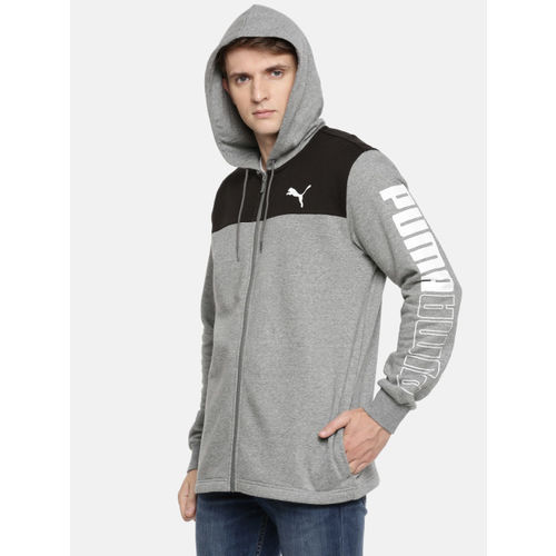 Puma Men Grey Melange Solid Up N Down FZ Hooded Sweatshirt