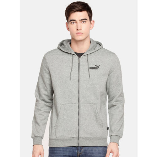 Puma Men Grey Melange Solid ESS FZ Hoody FL Hooded Sweatshirt