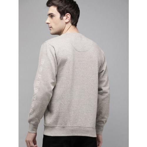 Roadster Men Grey Melange Solid Pullover Sweatshirt