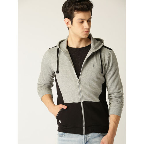 Allen Solly Sport Men Grey Melange & Black Colourblocked Hooded Sweatshirt