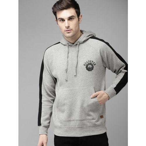 Roadster Men Grey Melange Solid Hooded Sweatshirt